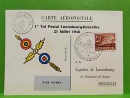 Carte Aeropostale. 1er Vol Postal Luxembourg-Bruxelles 1946 - Ganzsachen