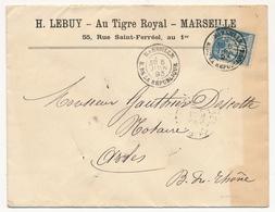 "FRANCE - Enveloppe En Tête ""H.LEBUY - Au Tigre Royal - Marseille - 55 Rue Saint-Ferréol, Au 1er"" Marseille 1893 - Advertising"