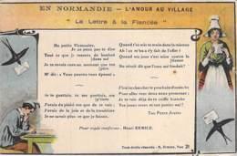 FANTAISIE ( NORMANDIE ) L'AMOUR Au VILLAGE : Lettre à Ma Fiancée - CPA Illustrée Colorisée - Fantaisies