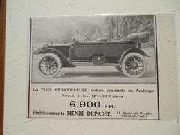 """Voiture Américaine RCH """"Type France"""" - Ets Henri DEPASSE Bd Bourdon Neuilly Sur Seine -  Coupure De Presse De 1913 - Voitures"""
