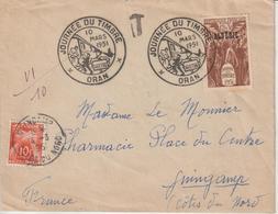Algérie 1er Jour 1951 Journée Du Timbre 267 Voyagé Pour La France Avec Taxe à L'arrivée - Algeria (1924-1962)