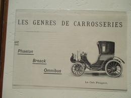 Cabriolet  Peugeot  -  Coupure De Presse De 1900 - Voitures