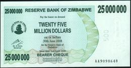ZIMBABWE - 25.000.000 Dollars 02.04.2008 {redemption Date 30.06.2008} UNC P.56 - Zimbabwe