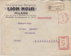 Da Milano A Montalcino - Raccomandata Rossa L. 1,75 - 1900-44 Victor Emmanuel III