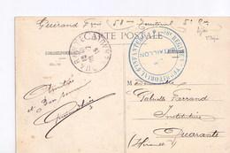 Dijon L'hotel De Ville, Avec Cachet Du 58 Régiment  Territorial D'infanterie - Poststempel (Briefe)
