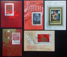 RUSSIE - RUSSIA ENSEMBLE DE 5 BLOCS FEUILLETS N°61 à 65 1970 COTE 10 € OBLITERE LENINE EXPO PHILATELIQUE - 1923-1991 UdSSR