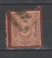 TIMBRE DE TURQUIE TIMBRE TAXE OBLITEREES 1871 Nr 21 GROSSE DENTELURE IRREGULIERE BORDURE BRUN-ROUGE  COTE 1000 € - 1858-1921 Ottoman Empire