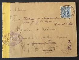 Enveloppe De CHINE VIA Sibérie Vers Paris Puis CHATEAU DE VILLEDARD YVOY-LE-MARRON Mars 1940 Censure EC73 - Marcophilie (Lettres)