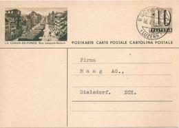 "PK 182  ""La Chaux-de-Fonds Rue Léopold-Robert""           1956 - Stamped Stationery"