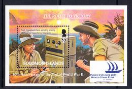 2005 Solomon Islands WWII End Of World War II Military Radio Australia Complete Souvenir Sheet MNH - Salomoninseln (Salomonen 1978-...)