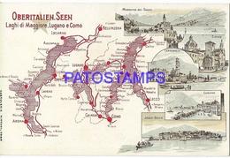 131658 ITALY LUGANO COMO MAP & MULTI VIEW POSTAL POSTCARD - Non Classés