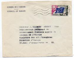 France Timbre De Service N°19 Oblitération Flamme Ondulée Conseil De L'Europe Strasbourg Du 21/09/1960 - Poststempel (Briefe)