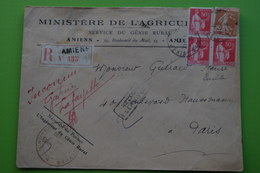 4-946 Tab Paris Distribution Amiens 1933 Facteur Rural Inconnu Retour à L'envoyeur Ministere Agriculture - Agriculture