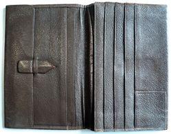 Portefeuille Marron - Cuir - Vintage - Porte Carte - Porte Monnaie - Porte Document - Habits & Linge D'époque