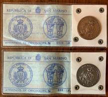 SAN MARINO 1963 - 2 Medaglie Argento E Bronzo CENTENARIO RAPPORTI DIPLOMATICI ITALIA R.S.M. - Gettoni E Medaglie