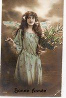 FEMMES 1019 : Bonne Année Sapin De Noel En Pot , Jeune Femme Ange , édit. S  ? N° 10064 - Femmes