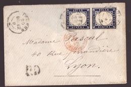 Regno, 20 C. Dentellato Del 1862 Coppia Su Bustina Per La Francia      -CN07 - 1861-78 Vittorio Emanuele II