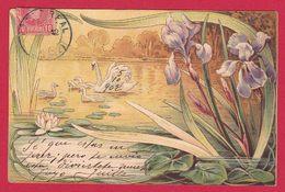 AD362 FANTAISIES ART NOUVEAU FLEURS IRIS  NENUPHAR  OISEAUX CYGNES DESSIN  - - Fleurs