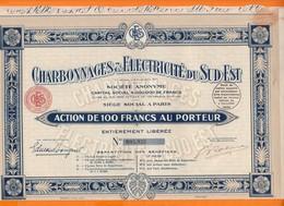 Charbonnages Et Electricité Du Sud-Est Action De 100f Au Porteur 1933 - Electricité & Gaz