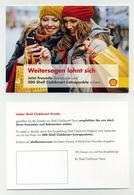 CP Pub En Allemand - Shell - Deux Jolies Jeunes Femmes Avec Bonnets En Laine Et Sacs - Nice Young Women Hats Bags - Publicité