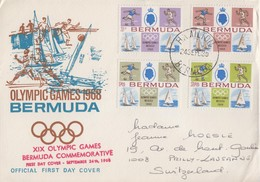 Enveloppe  FDC  1er  Jour  BERMUDES  Jeux  Olympiques  MEXICO   1968 - Summer 1968: Mexico City