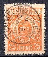 LUXEMBOURG - 1883 - Timbres Télégraphe - N° 2 - 25 C. Jaune-orage - Télégraphes