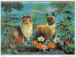 Carte Postale Visiorelief  3 D  Voilier Les Deux Chiens Collet Et Bouldog Trés Beau Plan - A Systèmes