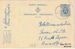 "OSTCANTONS :  ENTIER (F*N*D) 50 C. ""HENRI-CHAPELLE 19.XII.1934""  Naar BXL - Stamped Stationery"