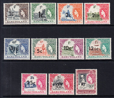 1961 Basutoland Definitives SURCHARGES Complete Set Of 11 MNH - Basutoland (1933-1966)