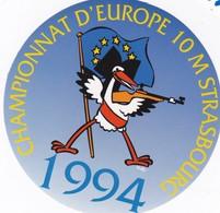 Autocollant Publicitaire - Tir Sportif - Armes - FFTir - Championnat De France De Tir à 10 Mètres   STRASBOURG  1994 - Autocollants