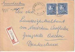 """OSTCANTONS :  RECOM Bf Met 2 PZ (B) 4 Fr Poortman """" HEBESTHAL / 9.2.52 / B (7 Punten) ►"""" Naar AACHEN - Stamped Stationery"""