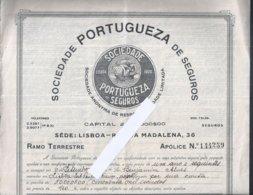 Contrato Seguro Da Sociedade Portuguesa De Seguros 1933. Caravel. Cruz De Cristo. Ramo Terrestre. Caravel. Cross Crist - Portugal