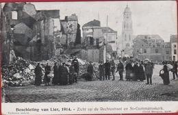 Beschieting Van Lier WWI WW1 1914 Zicht Op De Rechtestraat En St-Gummaruskerk Sint Grote Oorlog Eerste Wereldoorlog - Lier
