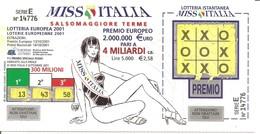 2001 - Lotteria Europea MISS ITALIA SALSOMAGGIORE + (retro) GP MERANO + MARATONA ITALIA MEMORIAL ENZO FERRARI - Billetes De Lotería