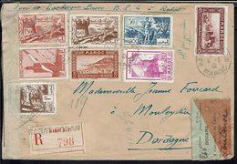 Maroc - 1942 - Affranchissement Multiple à 5 F Sur Enveloppe Recommandée De Rabat Pour La France - Contrôle Douane - - Marruecos (1891-1956)