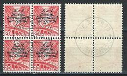 RR-/-522- YVERT-4 X N° 109, ZUMSTEIN, SERVICE, B.I.T. N° 43y, OBL., COTE 12.50 €, PAPIER LISSE, VOIR IMAGES POUR DETAILS - Officials