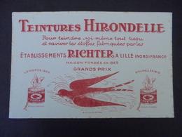 BUVARD - 59 - LILLE - TEINTURERIES HIRONDELLE : ETS. RICHTER - PETITES TACHES DE ROUSSEURS - Unclassified
