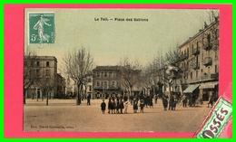 LE TEIL - Place Des Sablons ( Carte Couleur émaillée) (recto Verso) - Le Teil