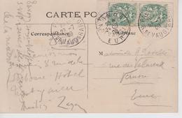 Type Blanc 5c N°111 F Paire De Carnet Verticale Avec Marges Sur Carte Postale Paris Vécu - Carré Marigny - 1900-29 Blanc