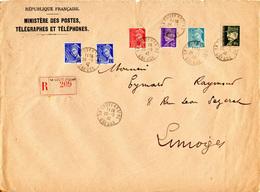 Enveloppe MINISTERE DES POSTES Avec Recommandé - Type Mercure 10c - 30c - 50c - Pétain 60c - 4f50 - France