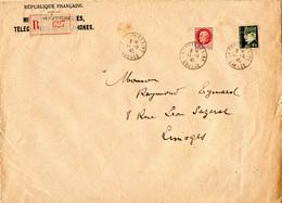 Enveloppe MINISTERE DES POSTES Avec Recommandé - Pétain: 1f50 - 4f50 - France