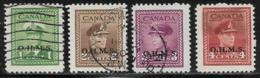 Canada Scott # O1-4 Used Postage Due, 1949-50 - Officials