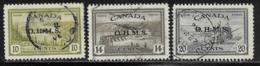 Canada Scott # O6-8 Used Postage Due, 1949-50 - Officials