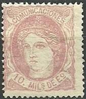 ESPAÑA 1870.-Mi:ES 99, Edi:ES 105  (*) . - 1868-70 Gobierno Provisional