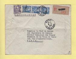 Marianne De Gandon - Recommande - Gagny - Seine Et Oise - 1952 - Postmark Collection (Covers)
