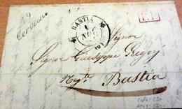 LAC - 19 CERVIONE (Corse) Pour BASTIA - Cursive + PP Rouge + CAD BASTIA - 1837 (B42-L2) - Marcophilie (Lettres)