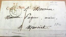 LAC - 31 CAZAUBON Rouge (Gers) Pour MANCIET - Cursive + CAD EAUZE - 1841 (B42-L2) - Marcophilie (Lettres)