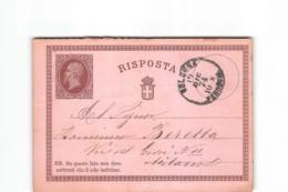 13311 CARTOLINA POSTALE RISPOSTA BOLOGNA X MILANO - 1874 - Stamped Stationery