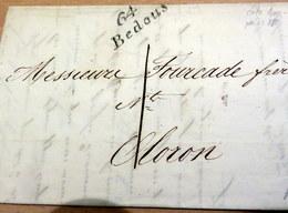 LAC - 64 BEDOUS (Basse Pyrénnées) Pour OLORON - Cursive - 1838 (B42-L2) - Marcophilie (Lettres)