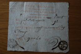 Bon De Logement Liege Tres Rare 1814 Un Homme Et Deux Chevaux - Documents Historiques